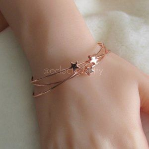 3/$25 Rose Gold Star Detail Cuff Bracelets